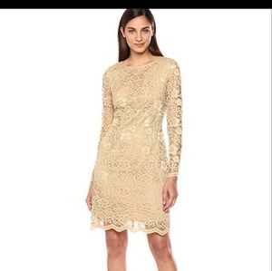 Nanette Lepore Gold Lace Dress Size 2